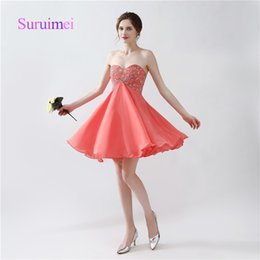 Wholesale Mini Sexy Summer Robes - Hot Sale Prom Dresses Robe De Soiree Sweetheart Neck Mini Above Knee Chiffon with Beading Evening Gowns
