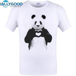 Wholesale Cool Cartoon Shirts - All You Need IS Love Cool Panda heart Print Mens T-Shirt Funny Animal Design Tops Hipster Men Cartoon Tee Shirts Plus Size 6XL