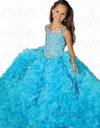 Wholesale children strapless flower gown - 2017 White Blue Children Flower Girl Dresses Beaded Little Girls Pageant Gown Junior Communion Suit For Wedding Party QC102