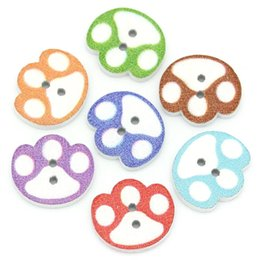 Wholesale Cute Craft Buttons - Kimter Radom Mixed Cute Dog Footprint Sewing Wooden Buttons 2 Hole 14x16mm For Crafts Decoration Scrapbooking Pack Of 100pcs I637L