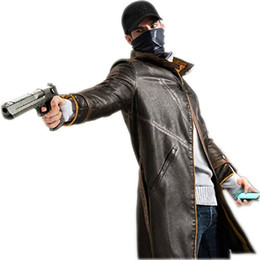 Wholesale Men S Winter Leather - Kukucos Watch Dogs Leather Jacket Cosplay Costume Trench Coat Aiden Pearce Jacket Winter Warm Outwear