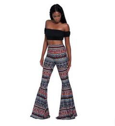 Wholesale Print Stretch Jersey - 2017 new Fashion Women Flared Legged floral Pants printing Elasticity Stretch Retro sexy Summer fashion Wide Leg Pants