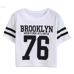 Wholesale Monogrammed Shirts - Wholesale- Summer Cropped Top 2016 Female BROOKLYN 76 Print Number Top Casual Short Sleeve Letters Print Monogrammed Crop T-Shirt