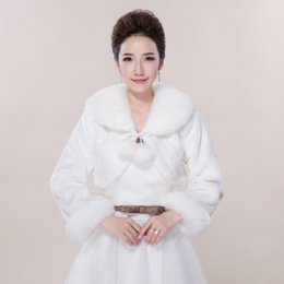 Wholesale Shoulder Shawl Party - 2017 Top Quality Winter Long Sleeves Faux Fur Bridal Cape Ivory Wedding Fur Bolero Wrap Evening Party Shoulder Shawl Bolero Mariage