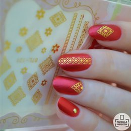 Wholesale Flower Water Decals - 1 Sheet Dreamy Flower Gold Silver 3D Nail Stickers Water Decal Adhesive Nail Art Decorations DTL121