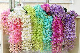 Wholesale Cheap Centerpieces For Weddings - Artificial Ivy Wisteria Silk Flower Vine Garland for Wedding Centerpieces Decorations Bouquet Home Decor Cheap Wholesale