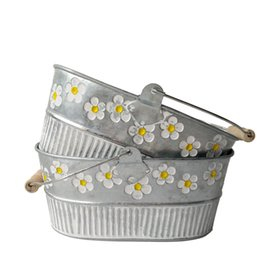 Wholesale Planter Box Gardening - Metal Planter pot garden Oval Sharp tin box Iron pots flower pot Hanging Planter with wood handle vintage flower