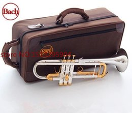 Wholesale Bach Silver Trumpet - wholesale Taiwan Bach Original Silver-plated body gold key LT180S-72 B flat professional trumpet bell Top musical instruments Brass horn