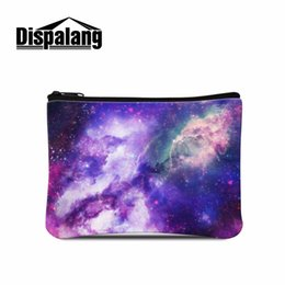 Wholesale Wholesale Teen Bags - Wholesale- Cool Clutch Coin Purse Mini Wallet Bags with Zipper For Girls Money Holder Lightweight Galaxy Patten Female Coin Bags for teens
