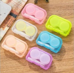 Wholesale Eyes Color Contact Lenses - 2016 High Quality Contact Lens Case Transparent Contact Lens Case Candy Color Dual Box Double Case Eye Contact Plastic Con Cases