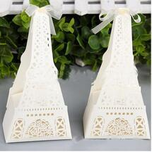 Wholesale Packing Boxes Supplies - 50Pcs 1Set Eiffel Tower Hollow out Sweet box gift box packing box Wedding supplies wholesale