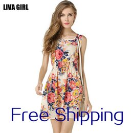 Wholesale Tall Women S Dresses - 2017 hot style in Europe and America fashion leisure tall waist summer big yards short sleeveless vest printing floral chiffon dress