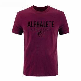 Wholesale Blue Shark Size - 2017 Spring summer Shark Alphalete Print Men's T-shirt sportwear casual cotton fashion o-neck t shirt mens plus size DIY-0143D