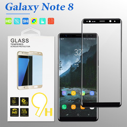 Wholesale Note Tempered - For Samsung Note 8 Screen Protector 3D Curved Tempered Glass For Samsung S8 9H Hardness Film Curved Whole Screen with Retail Package