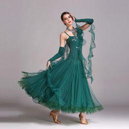 Wholesale Diamond Dancewear - Women Dance Dress Standard Ballroom Competition Dresses Costumes For Women Big Swing Tango Waltz Dancewear Diamond Modern Dance Dress FN188