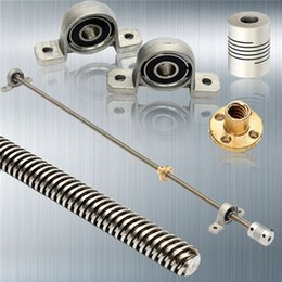 Wholesale T8 Screw - Wholesale- Newest 3D printer CNC T8 Lead screw 500 mm 8mm + brass copper nut + KP08 bearing Bracket +Flexible Coupling