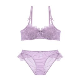 Wholesale lace bra 32a - 4 colors thin cotton sexy young women lingerie suits lash lace push up brassieres sets A B C D cup embroidery floral intimates