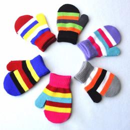 Wholesale children gloves wool - Wholesale- 12.5cm length Kids Multi Color Striped Warm Winter Gloves Boys and Girls Wool Knitted Colorful Full Finger Gloves Children luvas