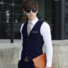 Wholesale Wholesale Men Suit Vest - Wholesale- 2016 new arrival dress vests for men slim fit suit sleeveless business waistcoat men working waistcoat plus sizes 3XL