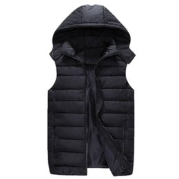 Wholesale 7xl Winter Coats - Wholesale- 2016 Winter New Men's Thicked Sleeveless Coat Fashion Male Hooded Cotton-Padded Waistcoat Jacket Warm Vest Plus Size L-7XL SS12