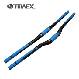 Wholesale Carbon Mountain Handlebars - TMAEX-Pro Blue UD Carbon Handlebar Mountain Bike Handlebar Flat Riser Bar Carbon Bicycle Parts spare parts for bicycle