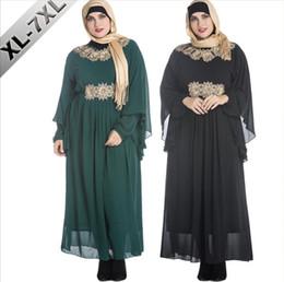 Wholesale Xl Muslim Woman Clothes - XL-7XL Extra Large Size Women Abaya Jilbab Islamic Clothes Muslim Dress Robe Femme Musulmane Traditional Arabic Clothing