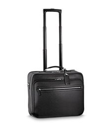 Wholesale Real Roll - Top Grade Black Taiiga Leather Rolling Luggage Suitcase PILOT CASE M23205 Free Shipping by EMS