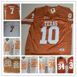 Wholesale White Campbell - Men Texas Longhorns Shane Buechele College Jerseys NCAA #10 Vince Young #20 Earl Campbell #34 Ricky Williams throwback Jersey S-3XL