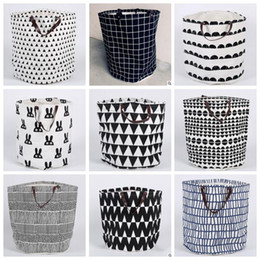 Wholesale Dirty Clothes Storage - Storage Baskets Bins Kids Room Laundry Bags Toys Storage Bags Ins Bucket Laundry Dirty Clothing Organizer Polka Dot Canvas Basket Bags B3322