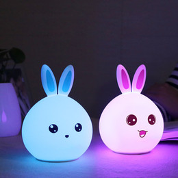 Wholesale Rabbit Night Light Wholesale - Wholesale- Silicone Rabbit Night Lights Bedside Lamp Children Cute Color Changing Night Lamp Rechargeable Touch Sensor Bedroom Light