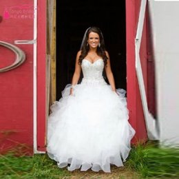 Wholesale Sexy Western Dress Skirts - 2016 Bling Sweetheart Ball Gown Organza Country Western Style Wedding Dress Bridal Gown crystal beaded Real Bridal Gowns Lace Up On Back