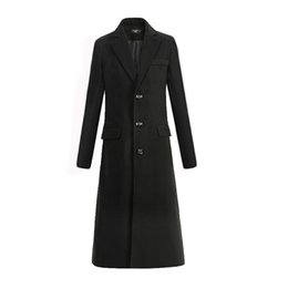 Wholesale Business Man Winter Coat Black - Wholesale- New Autumn and winter fine wool woolen cloth men's fashion leisure business a long black trench coat Male casual trench coat Men