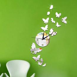 Papillon horloge murale design moderne en Ligne-3D DIY Papillon mur Horloge Autocollant Grand Mur Montre Reloj Moderne Design Salon Saat relogio de parede précipité Miroir TT299