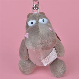 Wholesale Plush Hippo - Wholesale Brand New 10cm Grey Color Hippo Stuffed Animals Plush Keychain, Backpack Pendant, Keyring Plush Toys Free Shipping