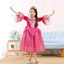 Wholesale Cotton Sleeping Gown - 2017 belle princess dress rapunzel dress Sleeping beauty princess aurora flare sleeve dress party birthday