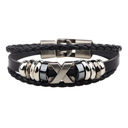 Wholesale Celtic Jewel - Europe and the United States leather bracelet X letter retro bracelet stainless steel accessories star with the same paragraph cowhide jewel