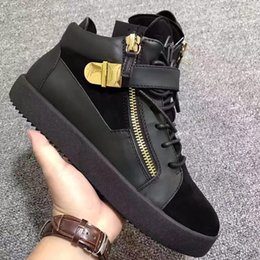 Wholesale Luxury Real Size - hot sell Luxury black real leather high-top metal buckles for men's women's shoes,zanottys fashion unisex casual shoes size 35-46