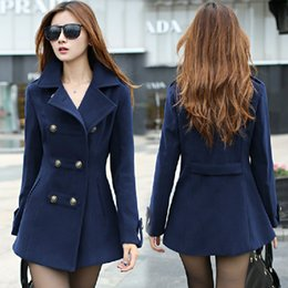 Wholesale Ladies Woollen Jackets - New 2016 women winter wool coat women's double breasted coats ladies long blue red camel woollen jacket female plaid overcoats