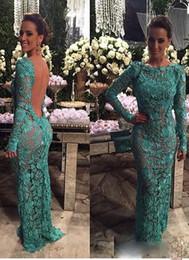 Wholesale Bride Dresses Open Back Mermaid - 2017 Sheer Lace Open Back Mother Of The Bride Groom Dresses Long Sleeves Vestidos Mermaid Custom Made Aso Ebi Mother off Bride Dresses