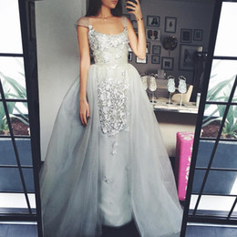 Wholesale over size - 2017 Over Skirt Prom Dresses Sexy Square Silver Lace Appliques Beaded with Detachable Court Train Evening Gowns