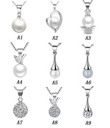 Wholesale Gold Ball Chain Necklace Woman - Long Pearl Pendants 925 Sterling Silver Necklaces Luxury Pearl Fashion Women Necklace Pendant Shambhala Ball Ladies Jewelry