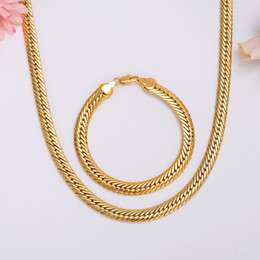 "Wholesale Wide Gold Plated Mens Bracelet - SOLID 14K 14CT Yellow GOLD GF Open LINK Wide 9mm CHAIN NECKLACE 23.6"" MENS WOMANS Bracelet Set"