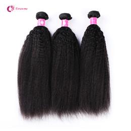 2020 armadura recta rizada afro Virgin Brazilian Kinky Straight Hair Weave 1B Black Remy Grueso Yaki Trama de cabello 3 Bundles / lot Forawme Cabello humano Afro Weave Envío gratis rebajas armadura recta rizada afro