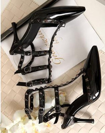 Wholesale Valentine Stud - Designer Pointed Toe 3-Strap with Studs high heels Patent Leather rivets Sandals Studded Strappy Dress Shoes valentine high heel Shoes
