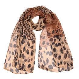 Wholesale Soft Leopard Print Scarfs - Wholesale- Fashion Ladies Girl's Chiffon Leopard Printed Striped Scarves Shawl Spring Autumn Winter Stole Soft Scarf DP654396