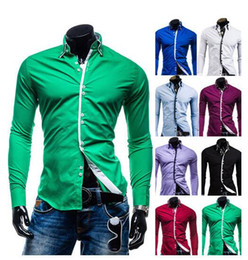 86fd9e2c Hot sale Men's Slim Shirts double-collar Long-sleeved Muscle Fit Luxury  Stylish Casual Designer shirt 8 Colors Drop shipping. Supplier: ylt332817654