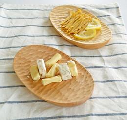 I piatti fanno online-Piatto di frutta creativo tartaruga fatto a mano in legno ovale da dessert piatti in faggio e gomma da tavola per il tè del pomeriggio