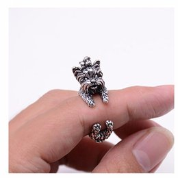 Wholesale Dog Ring Jewelry - 10pcs lot Antique Silver Bronze Black Yorkshire Terrier Rings Adjustable Animal Rings for Women Dog Shaped Jewelry