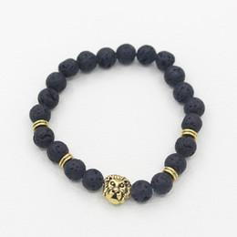 I braccialetti della testa del leone online-Bracciali in pietra naturale per uomo Lava oro argento Bracciale con perline testa di leone leopardo in argento per gioielli regalo braccialetto anniversario