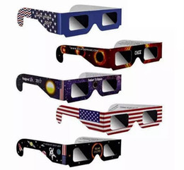 Wholesale Glasses Big Bag - Paper Solar Eclipse Glasses Safe Solar Viewing Eye Protection with Opp Bag Mixed Color for 2017 August 21st America Free DHL
